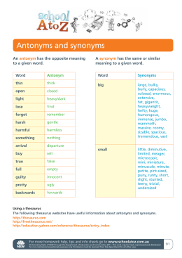 Antonyms and synonyms - NSW Department of Education