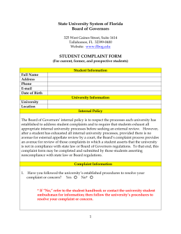 Student Complaint Form - State University System of Florida