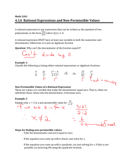 4.1A Rational Expressions and Non