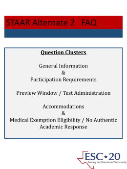 STAAR Alternate 2 FAQ - ESC-20