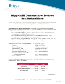 Briggs OASIS Documentation Solutions Beat National Norm