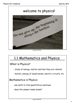 Physics CH 1.notebook - Mrs. Stowell Science