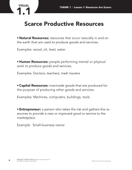 Scarce Productive Resources - Financial Fitness For Life