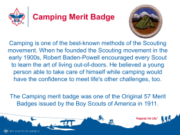 Camping Merit Badge Power Point Presentation