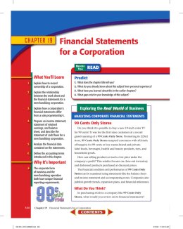 CHAPTER 19 Financial Statements for a Corporation