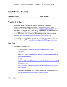 New Hire Checklist - UCSB Human Resources