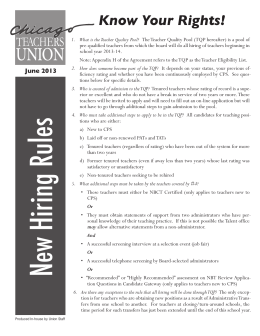 Know Your Rights! - Chicago Teachers Union