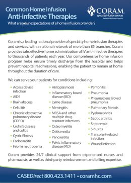 Common Home Infusion Anti-infective Therapies Chart