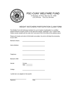 Weight Watchers Claim Form - PSC