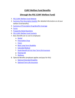 CUNY Welfare Fund Benefits (through the PSC