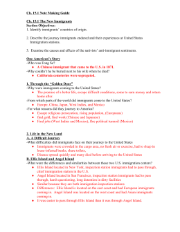 Ch. 15.1 Note Making Guide Ch. 15.1 The New Immigrants Section