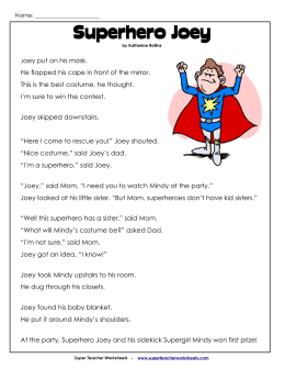 Superhero Joey - Super Teacher Worksheets