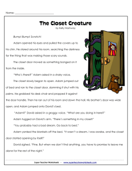 The Closet Creature - Super Teacher Worksheets