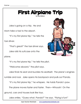 First Airplane Trip - Super Teacher Worksheets