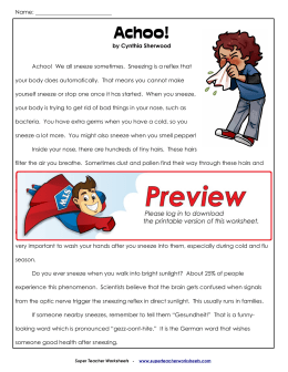 Achoo! - Super Teacher Worksheets