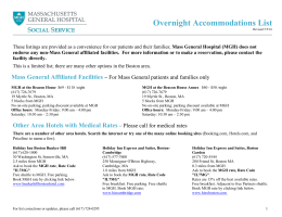Overnight Accommodations List