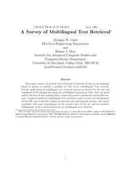 A Survey of Multilingual Text Retrieval - TerpConnect