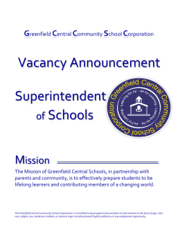 Vacancy Announcement Superintendent - Greenfield