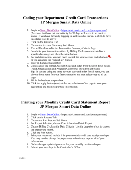 Coding your Department Credit Card Transactions JP Morgan Smart
