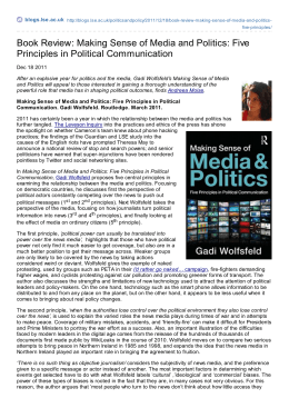 Book Review: Making Sense of Media and Politics: Five Principles in
