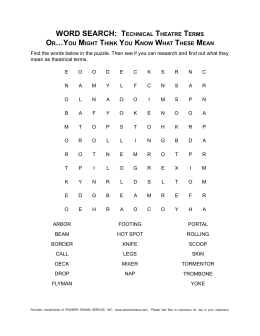 WORD SEARCH: TECHniCAl THEATRE TERmS
