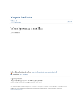 When Ignorance is not Bliss - Marquette Law Scholarly Commons