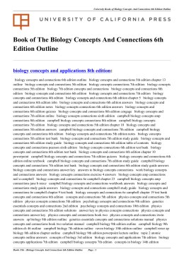 Biology Concepts And Connections 6th Edition Outline