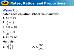 2-6 Rates, Ratios, and Proportions