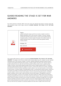 Guided Reading The Stage Is Set For War Answers