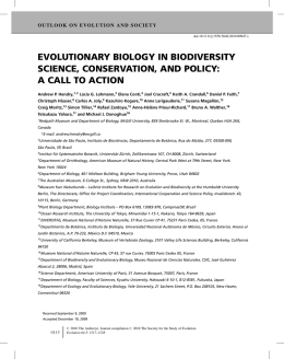 evolutionary biology in biodiversity science