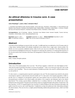 An ethical dilemma in trauma care: A case presentation
