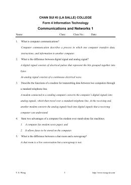 Communications and Networks 1
