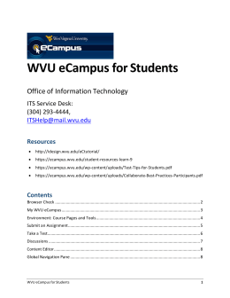 WVU eCampus for Students - WVU eCampus Information