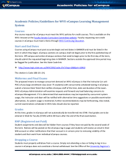Academic Policies/Guidelines for WVU eCampus Learning