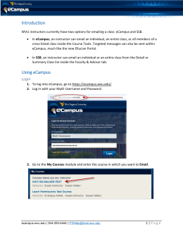 Email Options in eCampus Introduction Using eCampus