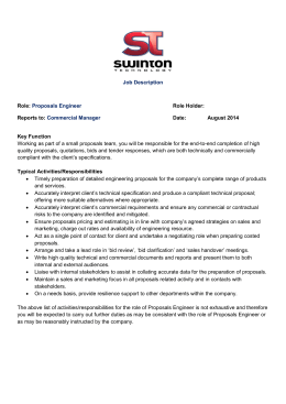 Proposals Engineer Role Holder