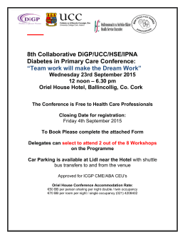 Diabetes in Primary Care Conference Booking Form