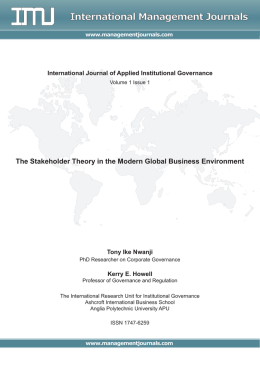 The Stakeholder Theory in the Modern Global Business Environment