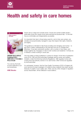 Health and safety in care homes