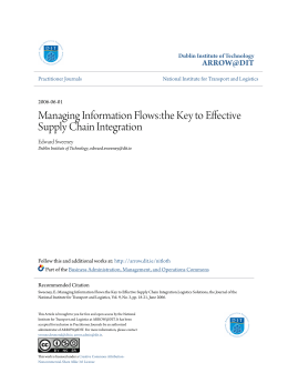 Managing Information Flows:the Key to Effective Supply Chain