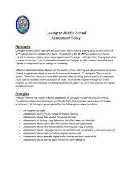 Lexington Middle School Assessment Policy