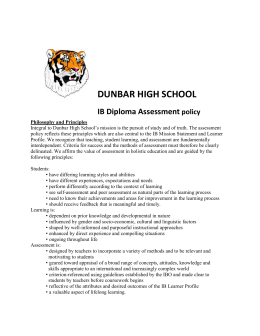 DUNBAR HIGH SCHOOL IB Diploma Assessment policy