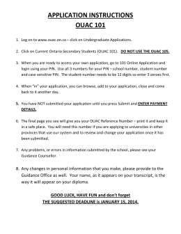 APPLICATION INSTRUCTIONS OUAC 101