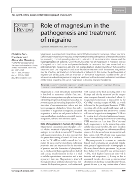 Role of magnesium in the pathogenesis and treatment of migraine