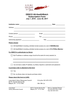 EBSCO Alt-HealthWatch Subscription Form