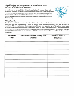 Page 1 Classification: Dichotomous Key of Snowflakes Name: A