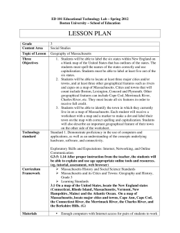 lesson plan - Massachusetts Geography