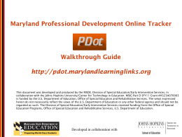 The Maryland Online IEP - Maryland Learning Links