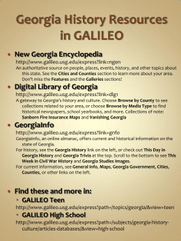 Civil War Sesquicentennial: Resources in GALILEO and