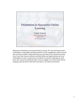 Orientation to Successful Online Learning. This